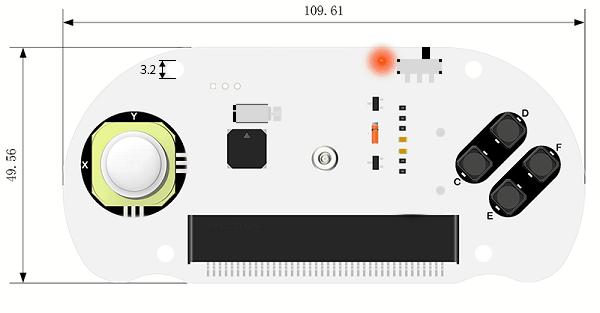 Joystick:bit V2 Plus s úchyty - rozměry PCB