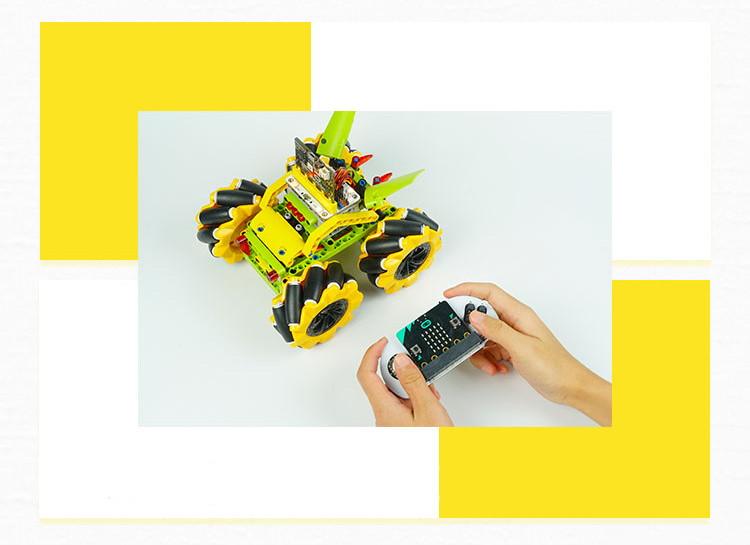 Micro:bit Mecanum bugina s pohybem 360° - bez modulu micro:bit dálkové ovládání