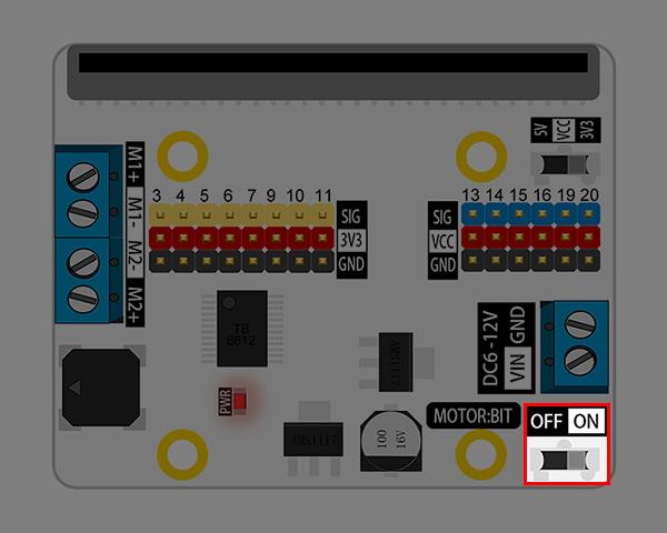 Motor:bit pro micro:bit - rozšiřující modul pro motory - hlavní vypínač