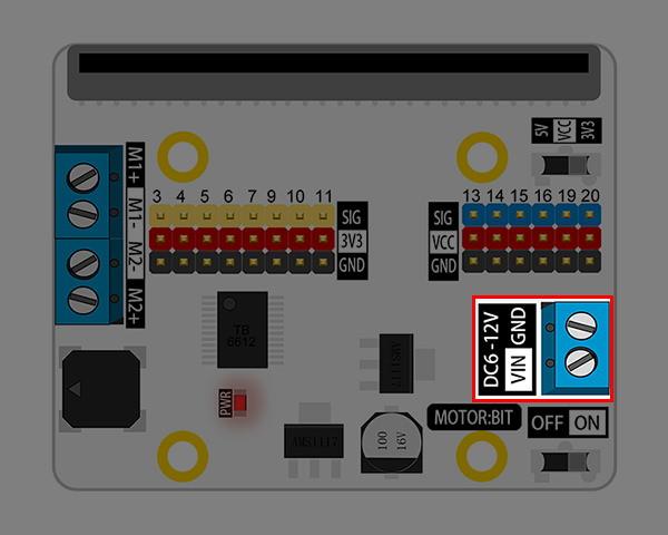 Motor:bit pro micro:bit - rozšiřující modul pro motory - napájecí konektor