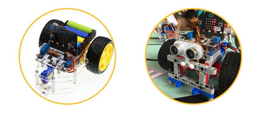 Motor:bit pro micro:bit - rozšiřující modul pro motory - použití v autě