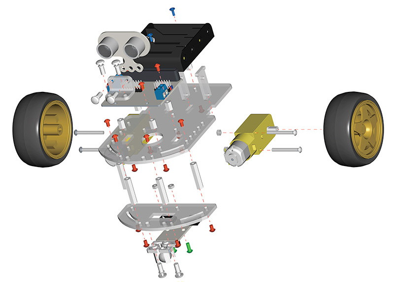 Motor:bit kit chytrý robot s Micro:bit sestavení