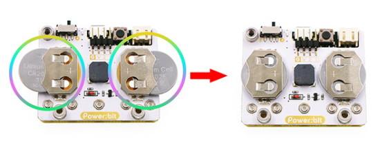 Power:bit kit pro micro:bit hodinky - instalace baterií