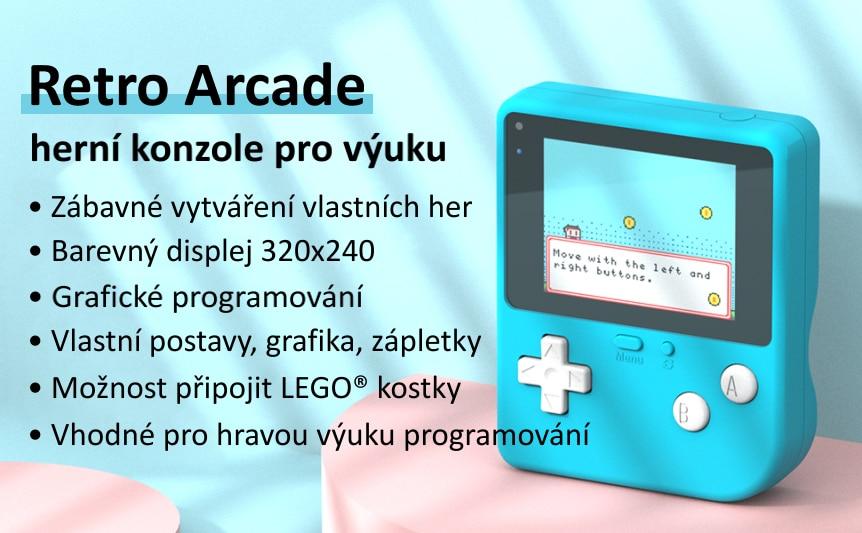 Retro Arcade herní konzole pro výuku programování vlastnosti