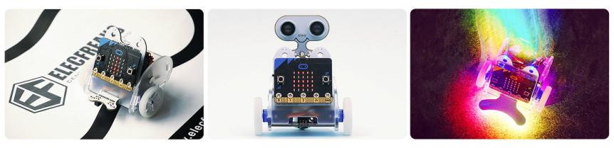 Ring:bit V2 - Micro:bit výukový robot pro děti - ukázky použití modulů
