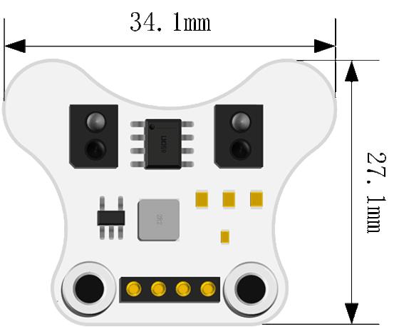 Snímač čáry pro robota Ring:bit V2 - rozměry