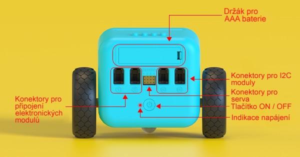 TPBot - programovatelný jezdící robůtek pro děti (bez micro:bit) konektory