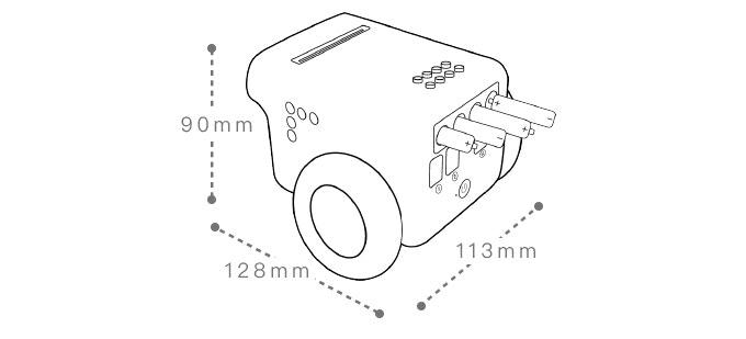 TPBot - programovatelný jezdící robůtek pro děti (bez micro:bit) rozměry