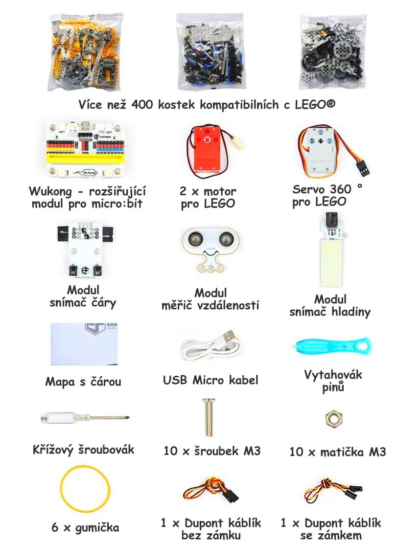 Wonder Building Kit - stavebnice robotů s Wukong 20v1 pro LEGO® (bez micro:bit) součásti