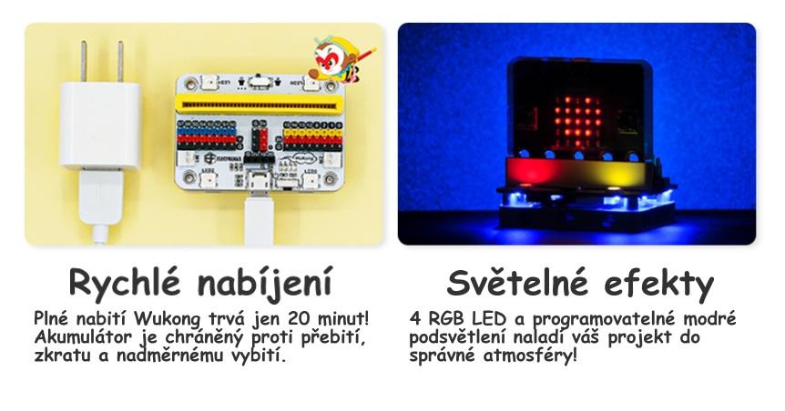Wukong pro microbit nabíjení a světelné efekty