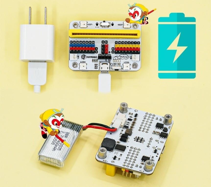 Wukong - rozšiřující modul pro LEGO micro:bit robota - nabíjení a akumulátor LiPol