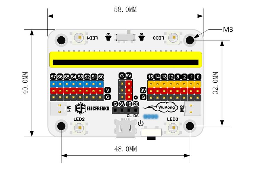 Wukong - rozšiřující modul pro LEGO micro:bit robota - rozměry