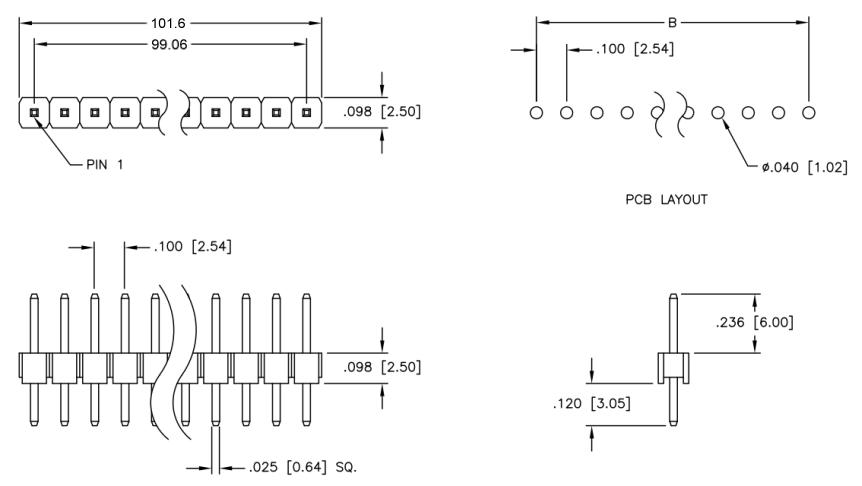 Kolíková lišta 40pin 2,54mm - přímá
