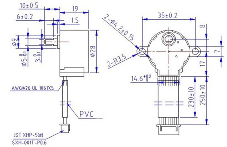 Krokový motorek 28BYJ-48 + driver mechanické rozměry