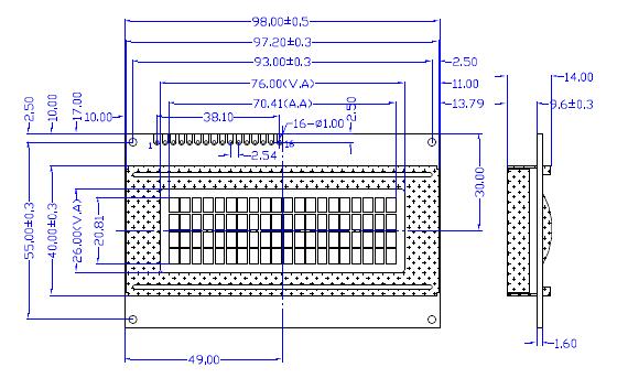 LCD displej 20x4 modrý s podsvětlením rozměry