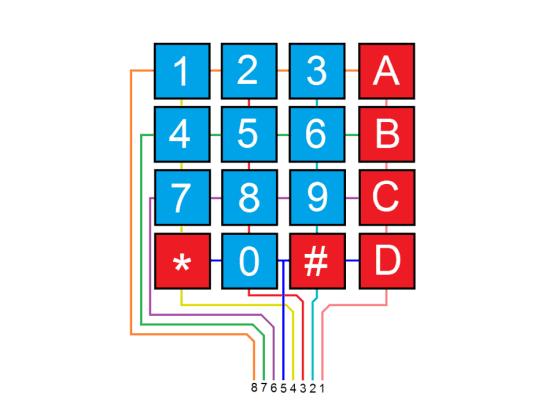Maticová klávesnice 4 x 4 membránová - zapojení