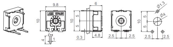 Trimr 10kΩ 0,15W rozměry