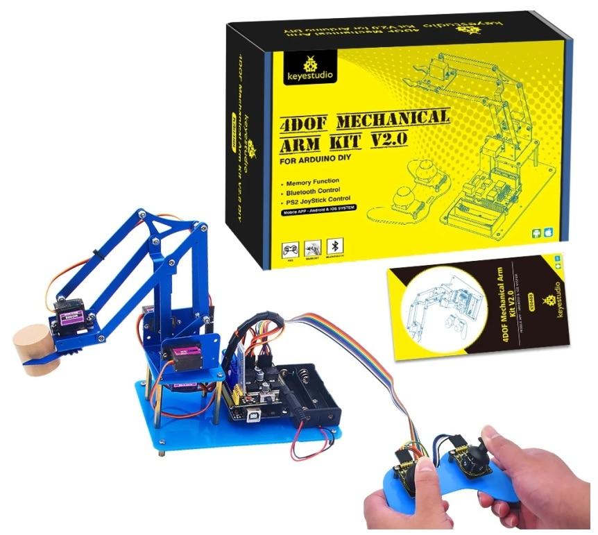 4-DOF robotická ruka pro Arduino, Bluetooth, PS2 + DIY joystick balení