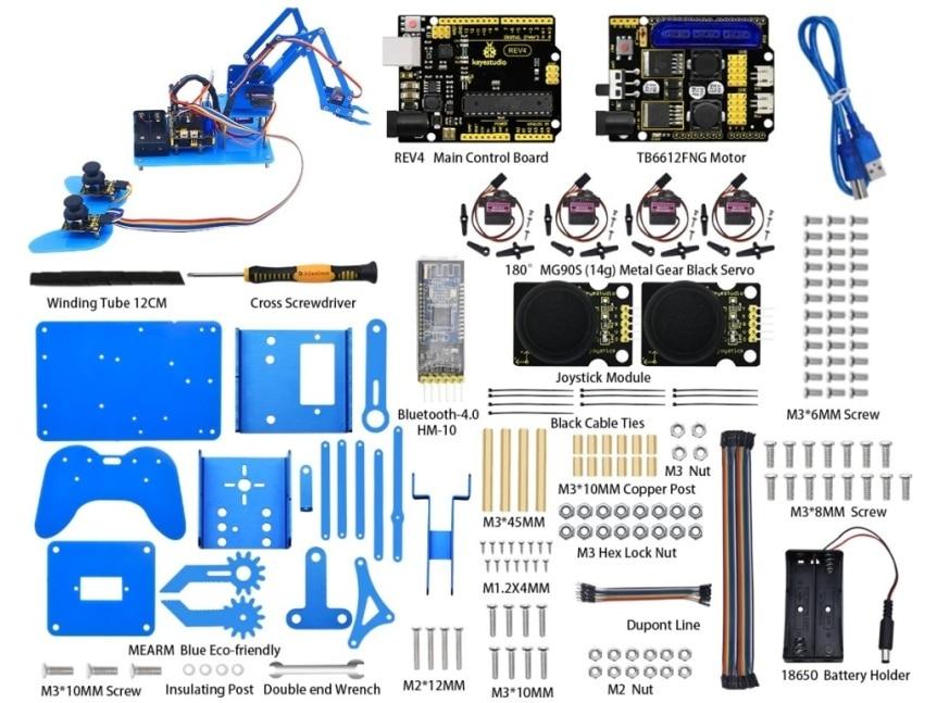 4-DOF robotická ruka pro Arduino, Bluetooth, PS2 + DIY joystick součásti