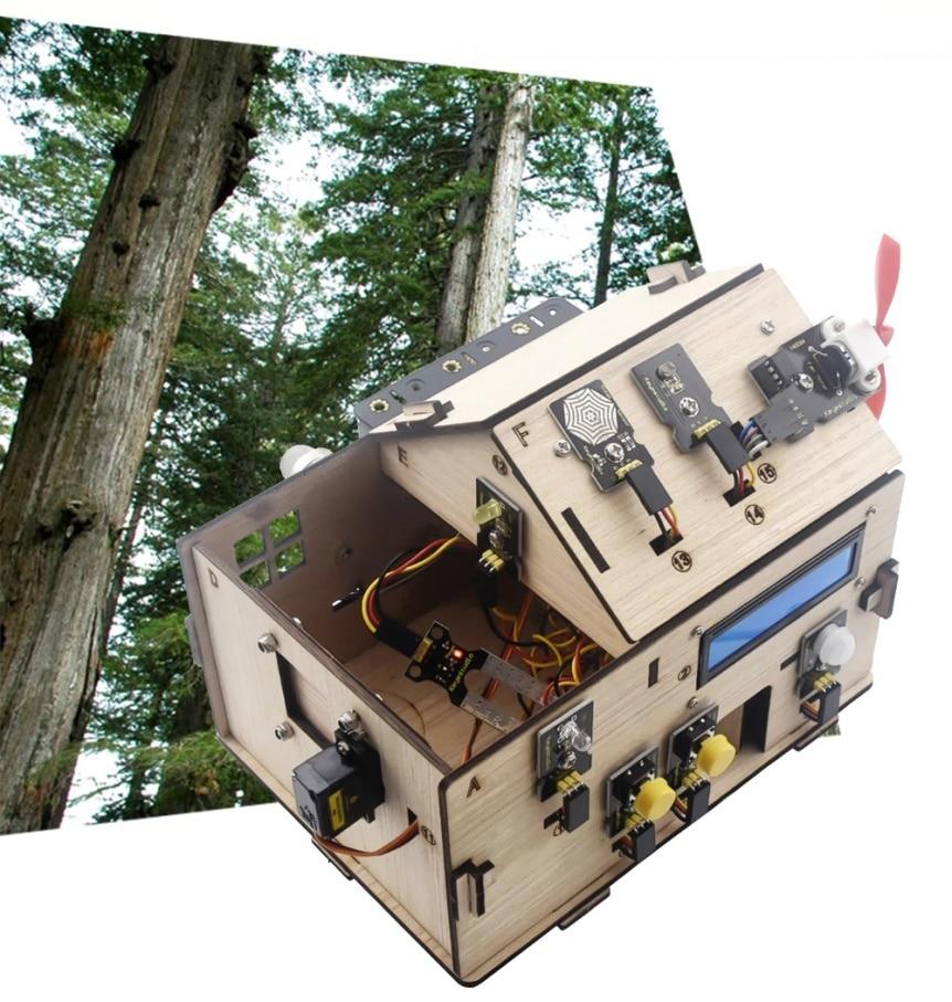 Chytrý domeček pro Arduino - STEAM DIY výukový kit - dřevo