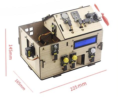 Chytrý domeček pro Arduino - STEAM DIY výukový kit - rozměry