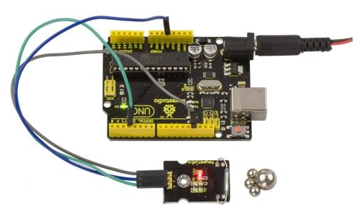 Keyestudio Senzor Kit 37v1 V3.0 pro Arduino - jazýčkový spínač příklad