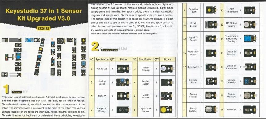 Keyestudio Senzor Kit 37v1 V3.0 pro Arduino leták 2