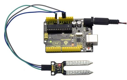 Keyestudio Senzor Kit 37v1 V3.0 pro Arduino přiklad pro měření vlhkosti půdy