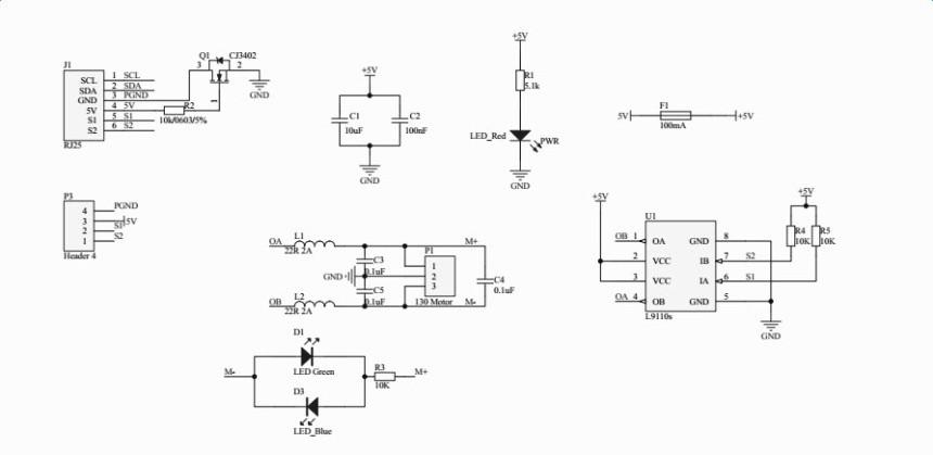Me 130 Motor Pack - 5V/10000RPM - Schéma zapojení