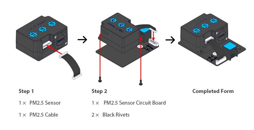 Me snímač kvality ovzduší PM2,5 postup kompletace