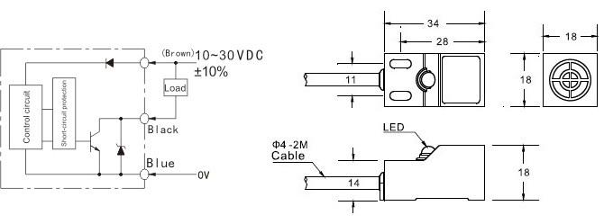 Snímač přiblížení ke kovu - zapojení a rozměry