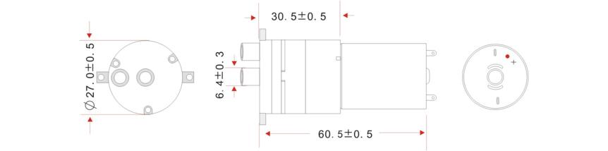 Vodní čerpadlo 12VDC 2l/min rozměry