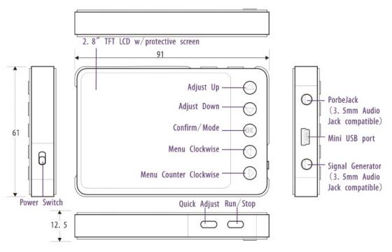 DSO Nano V3 kapesní digitální paměťový osciloskop - rozměry, uživatelské rozhraní