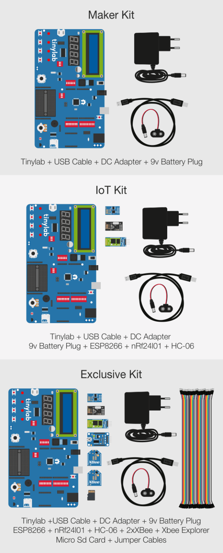 Arduino kit Tinylab varianty