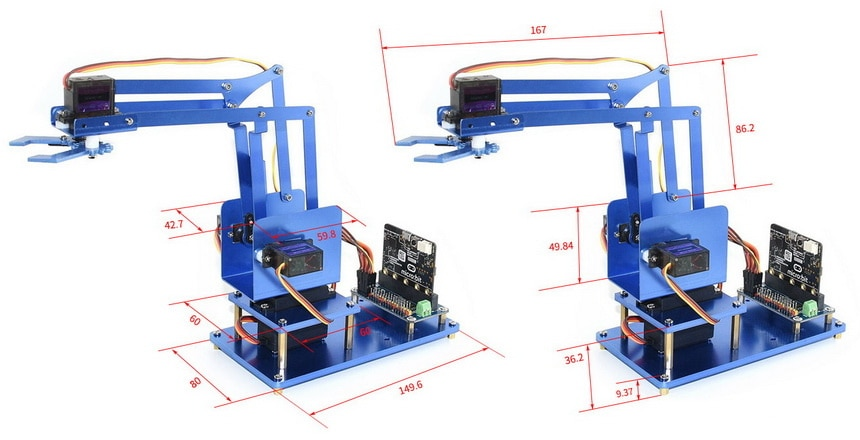 4-DOF kovová robotická ruka pro micro:bit rozměry