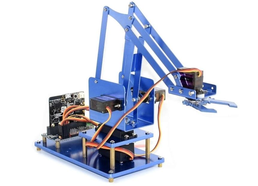 4-DOF kovová robotická ruka pro micro:bit sestavená