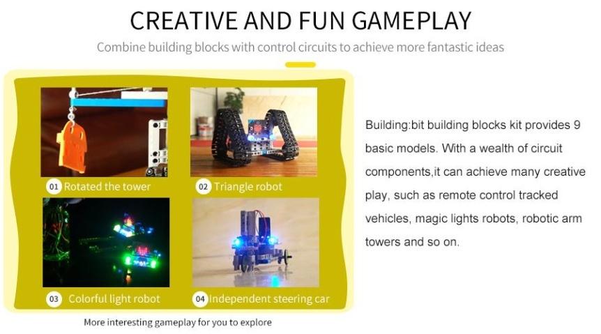 Building:bit Block kit stavebnice hi-tech robotů 9v1 pro LEGO® tvoření
