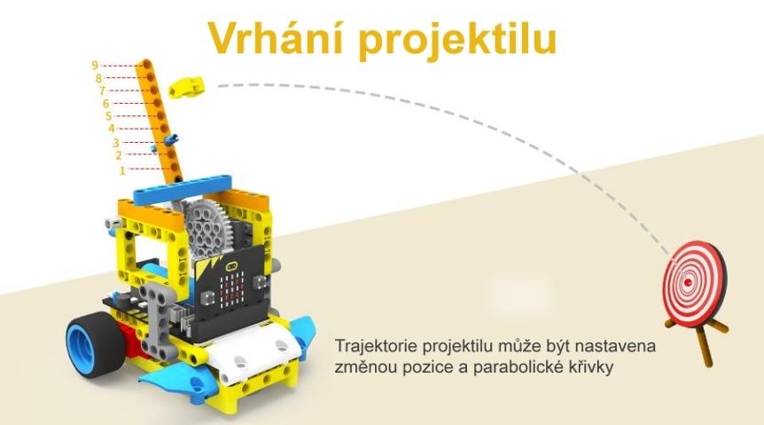 Programovatelné vozítko Running:bit kompatibilní s LEGO® vrhání projektilu