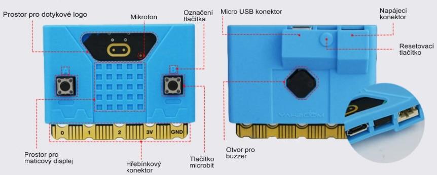 Silikonový obal na Micro:bit V1/V2 funkční prvky