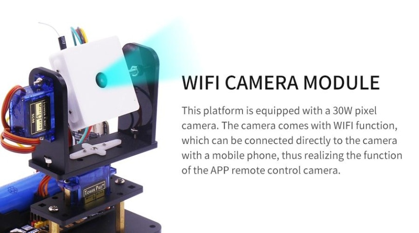 WiFi kamera, 2-DOF držák + super:bit pro micro:bit WiFi