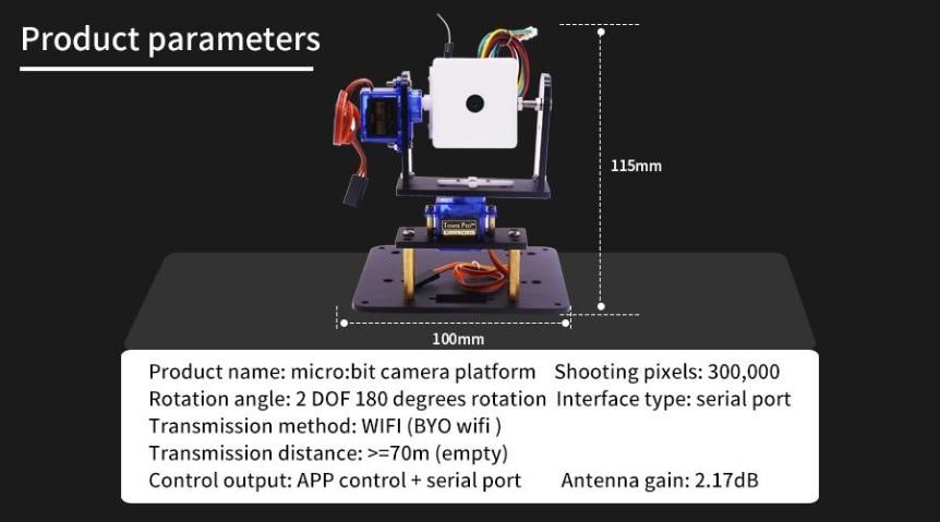 WiFi kamera, 2-DOF držák + super:bit pro micro:bit rozměry