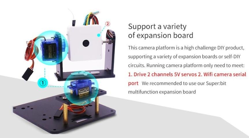 WiFi kamera, 2-DOF držák + super:bit pro micro:bit funkce