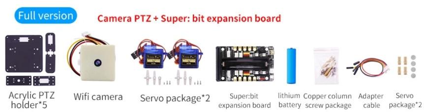 WiFi kamera, 2-DOF držák + super:bit pro micro:bit součásti