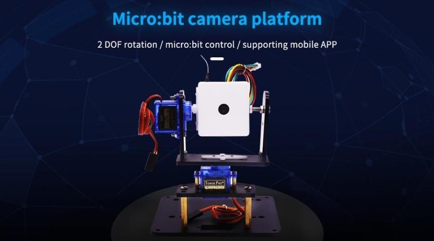 WiFi kamera, 2-DOF držák + super:bit pro micro:bit