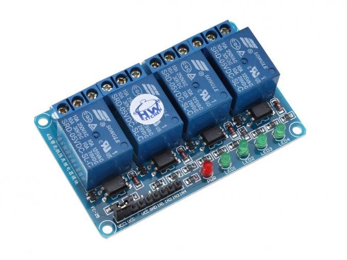4 x relé modul s optočlenem 5VDC / 250VAC / 10A