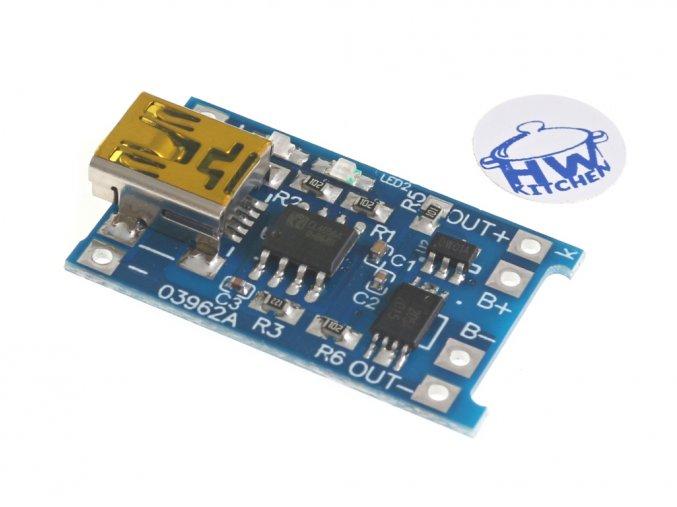 Mini USB nabíječka LiPol 1A s ochranou