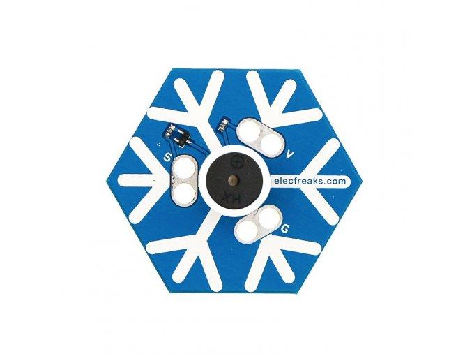 Hrající sněhová vločka pro micro:bit zvrchu