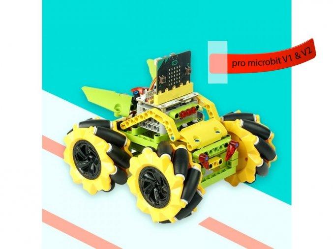 Micro:bit Mecanum bugina s pohybem 360° - bez modulu micro:bit žlutá kola