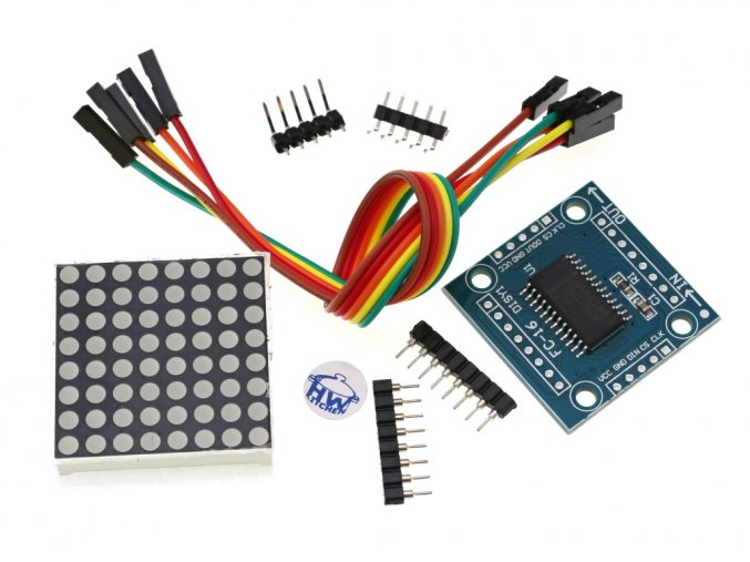 8x8 LED Matrix červená s MAX7219 - DIY Kit