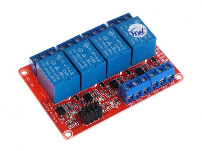 4 x relé modul s optočlenem 12VDC / 250VAC / 10A nastavitelná úroveň napětí